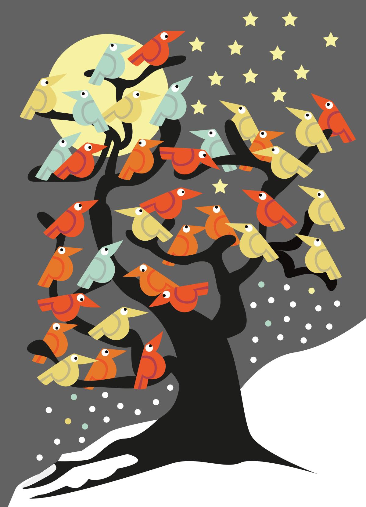 kerstkaart vogels